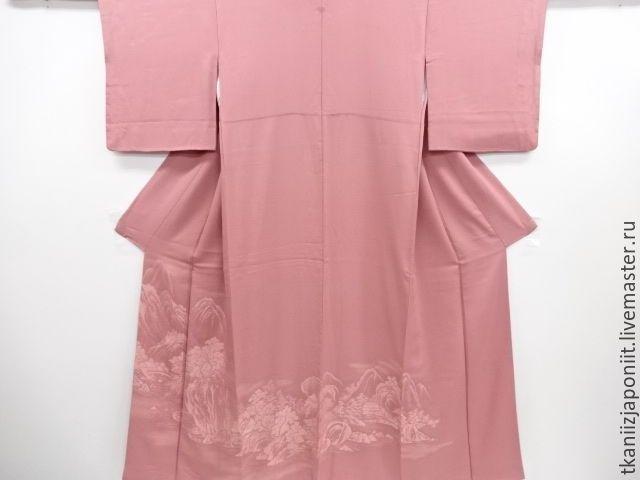 """Купить Кимоно японское """"Пейзаж"""" - розовый, кимоно, японское кимоно, кимоно японское, стильный халат"""
