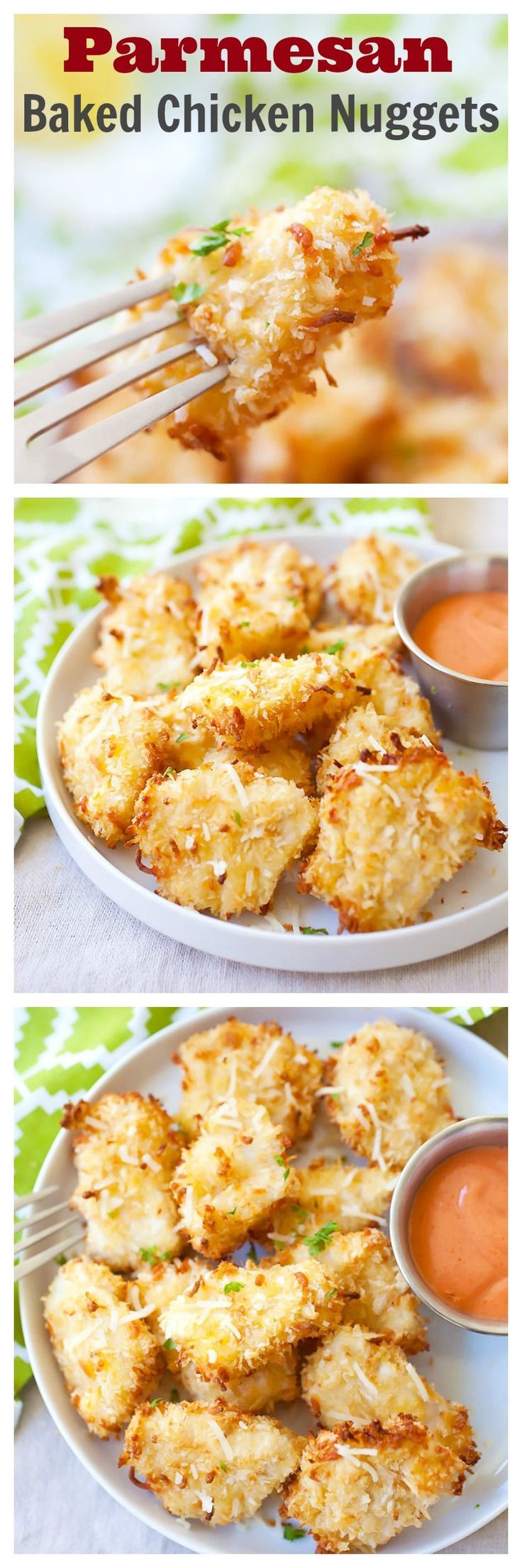 Parmesan Baked Chicken Nuggets – crispy chicken nuggets with real chicken with no frying. Easy and yummy, plus adults & kids love the amazing nuggets | rasamalaysia.com