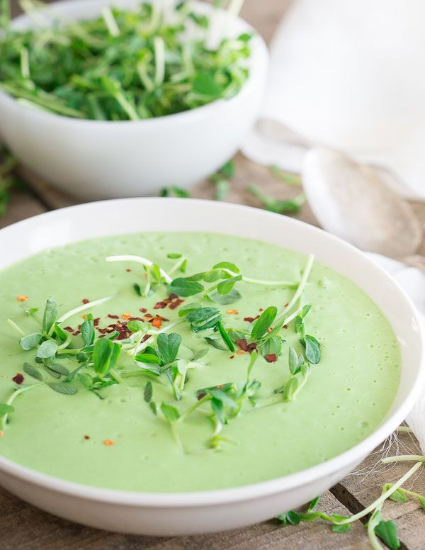 Thai Pea Soup by runningtothekitchen: Besides tasting like spring in a bowl, the other cool thing about this soup is that it's made completely in the blender and it can be served at any temperature you want, no need for it to be piping hot.  #Soup #Pea #Thai
