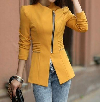 Mustard Zipper Blazer / The Clothing Bar