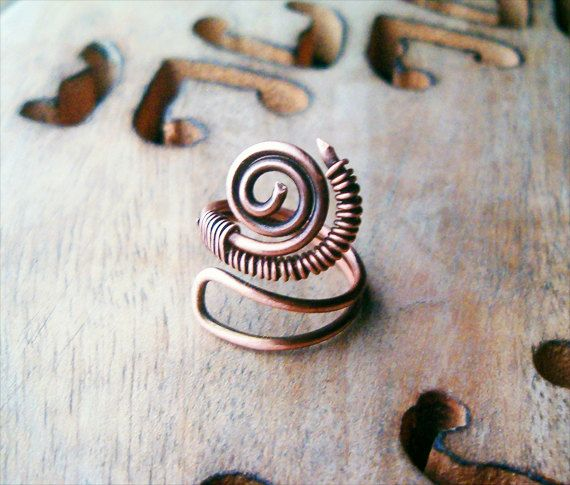 Wire Wrapped Adjustable Copper Ring  wire wrapped by GearsFactory