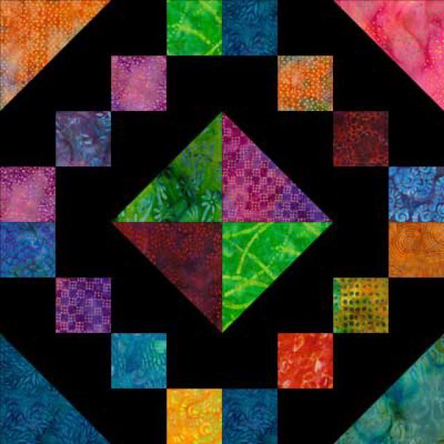 "Free Quilt Block Patterns, F through L: Jewel Box Quilt Block Pattern - 10"""