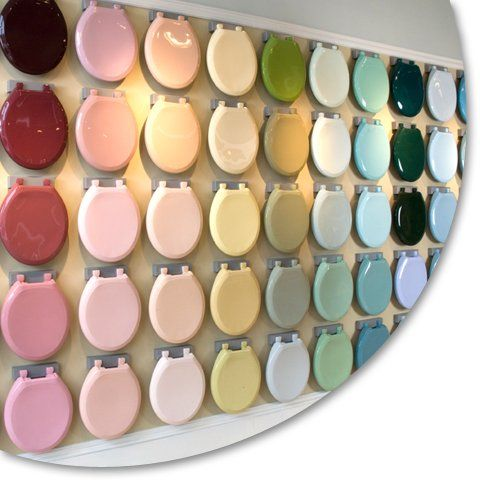bemis.  94 different colors of toilet seats to match your vintage colored toilet.