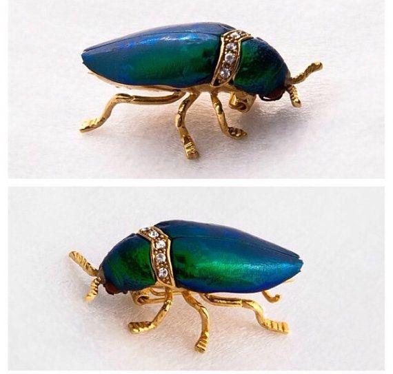 Authentique joyau vert scarabée et strass or broche par FabHatters
