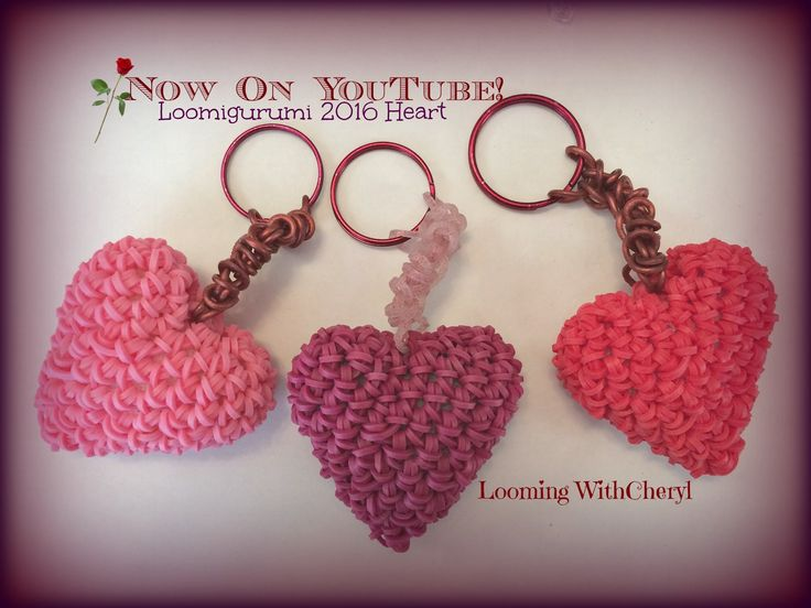 Rainbow Loom 2016 Heart Charm OR Key Chain Loomigurumi Amigurumi Hook Only Сердце Лумигуруми . Valentines day Heart, Love, Pattern, tutorial, Looming With Cheryl . Now On Youtube =)