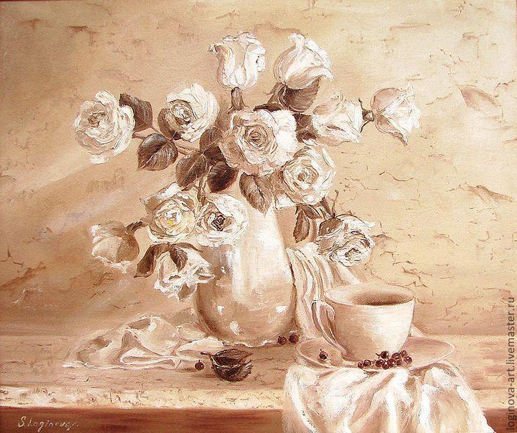 Купить или заказать Гризайль с белыми розами в интернет-магазине на Ярмарке Мастеров. светлая картина украсит любой интерьер, особенно классический. Основной фон написан мягко, краска растушевана, Розы выписаны рельефным мазком мастихином -это создает и нежность и объемность изображения. Картина в реальности намного красивее, качество фото не позволяет это передать. - - - - - - - Галерейная натяжка холста, боковые стороны окрашены, холст загнут наизнанку. …