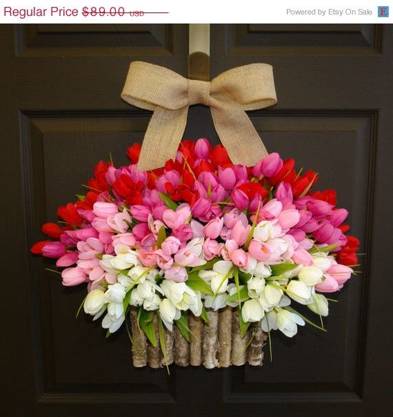 WELCOME SPRING SALE 10% spring summer wreath birch bark vases, front door wreath decorations,red pink tulips spring wreath by aniamelisa on Etsy https://www.etsy.com/listing/174540320/welcome-spring-sale-10-spring-summer