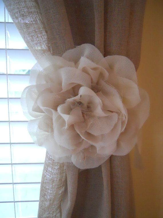 fabric flower curtain tie backs, etsy $34