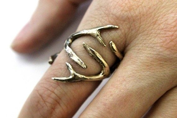 Whitetail Deer Antler Ring Bronze Antler Ring by mrd74 on Etsy