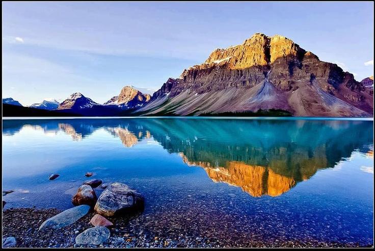 still water, mountain, sun reflection | Reflections ...