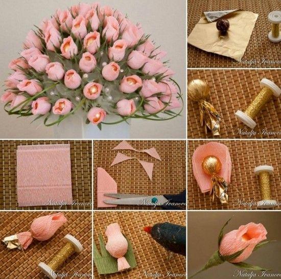 Chocolate Crepe Roses Bouquet Tutorial