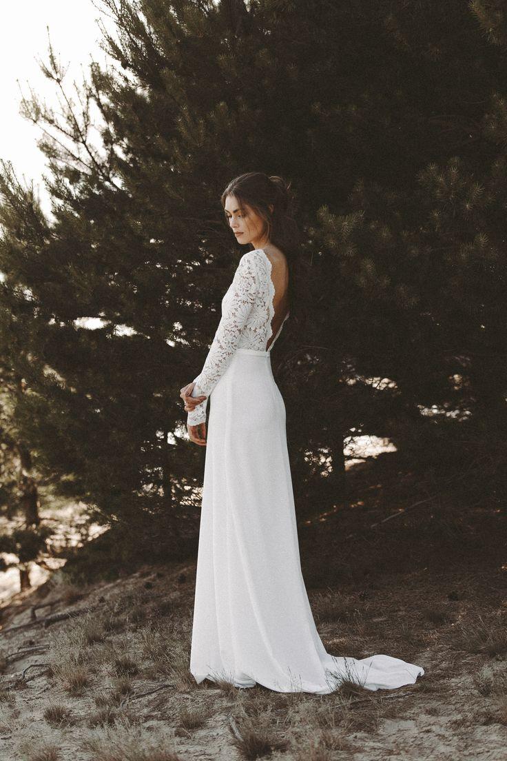 Brautkleid lange Spitzenärmel Rückenausschnitt Boho Hochzeitskleid Vintage Bra…