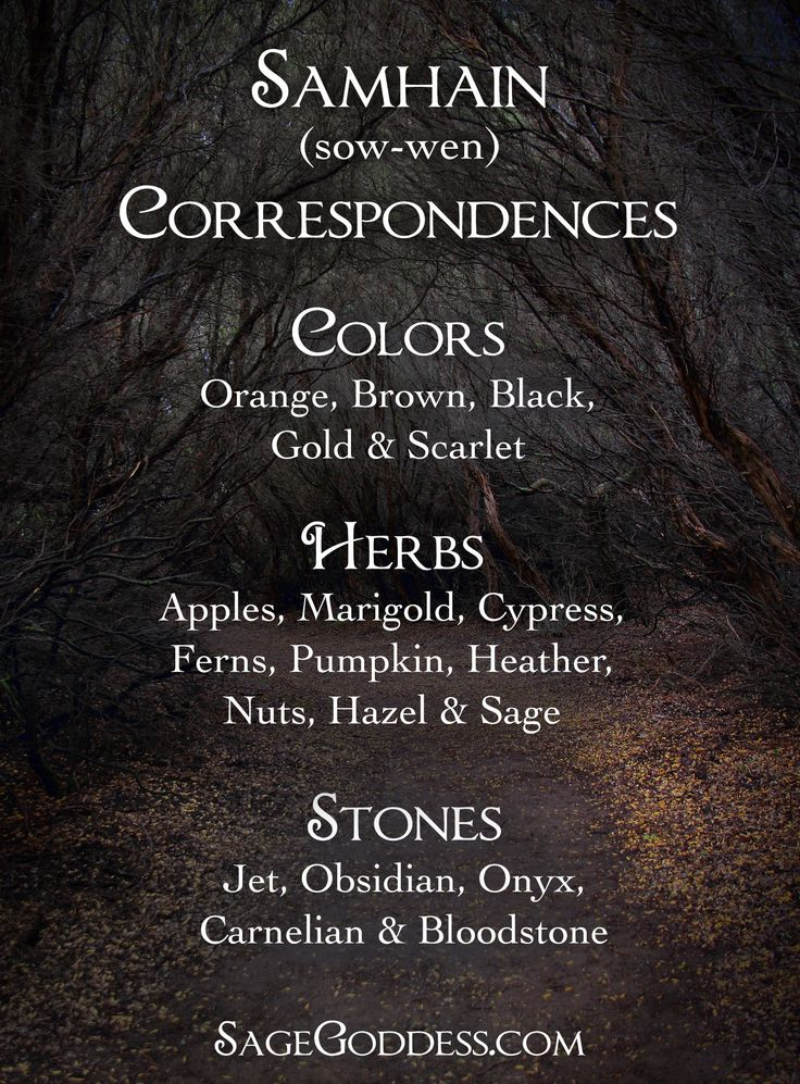 Samhain Correspondences - Pinned by The Mystic's Emporium on Etsy