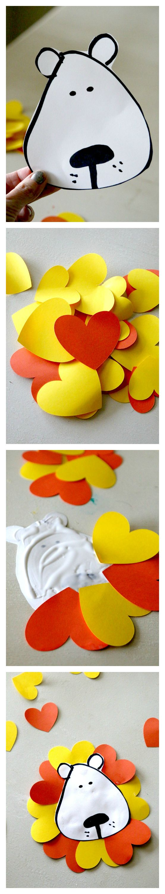 """Kids will adore this """"Heart of a Lion"""" Valentines Day Kids Crafting project, with 2 free PDF files for at home or classroom usage, 3 ideas with pictures! Paper Crafting is easy, fun, and inexpensive!"""