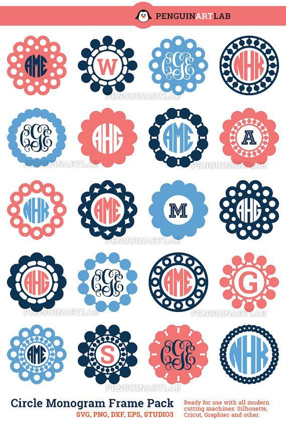 Circle Monogram Frames Professionally Designed by PenguinArtLab