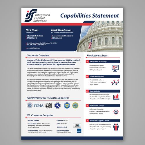 designs create single page marketing capabilities statement for clients in the federal marketplace brochure designbrochure ideaslayout