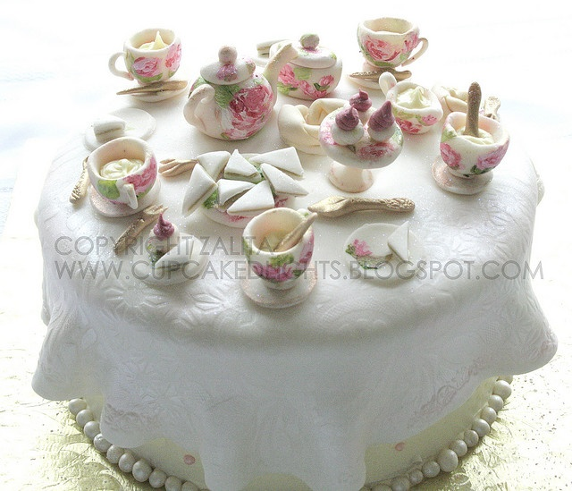 English tea party cake - I could not love this more - look at the little cucumber sandwiches