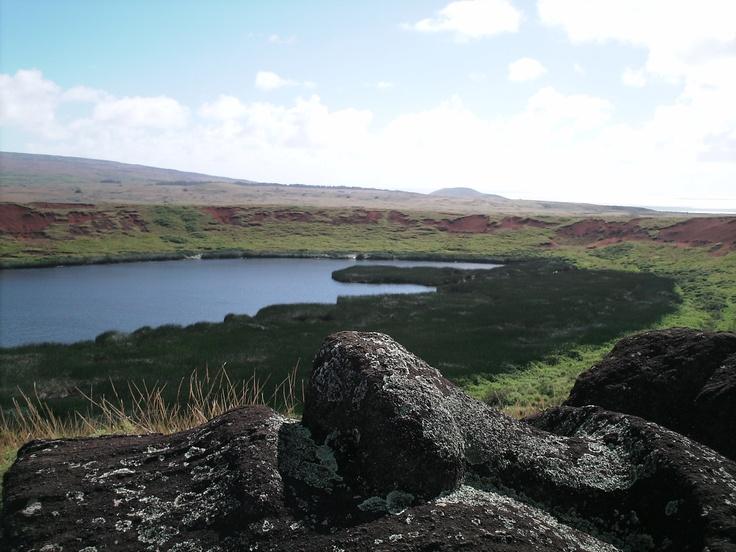 Rano Raraku Crater, Rapa Nui, South Pacific.