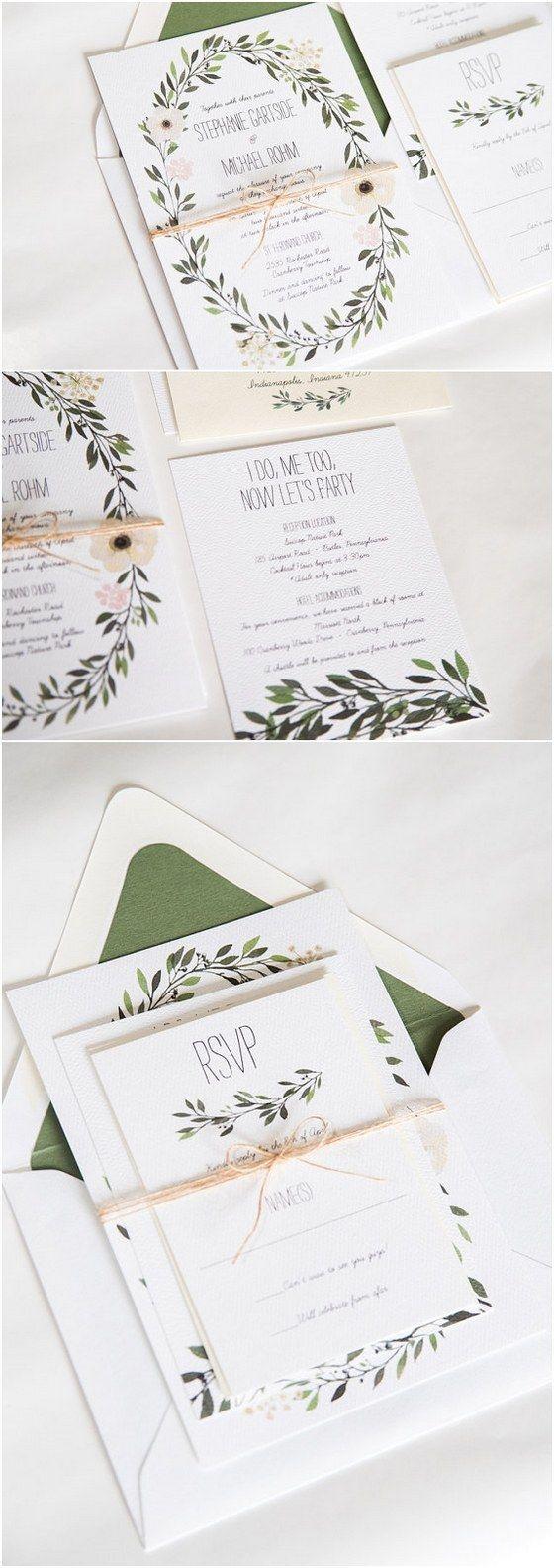 Watercolor Wreath Greenery Wedding Invitation / http://www.deerpearlflowers.com/29-watercolor-wedding-invitations/2/