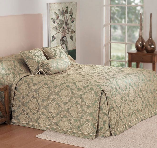 Winslet Sage - Polyester front and reverse, Polyester fill, Jacquard, Quilted - #bedspreads