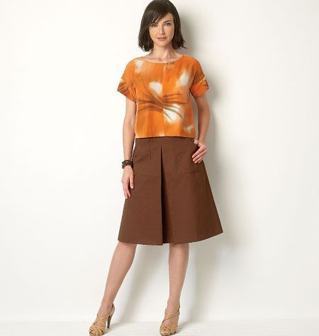 B6182, Misses' Top, Dress and Skirt - Interesting front horizontal pleat; like the top in the dress version, too.
