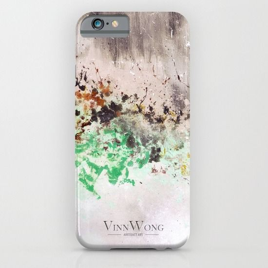 Oil painted green and grey abstract phone case design for iPhone 6, iPhone 5S/C, iPod Touch, Galaxy s6/s5/s4 | International Shipping | Full collection www.vinnwong.com | Click to Shop or Pin it For Later!