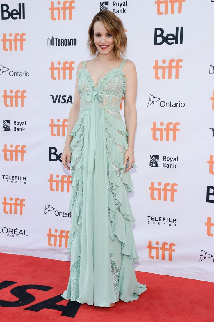 Actress Rachel McAdams in ELIE SAAB Resort 2018 at the 'Disobedience' premiere during the 2017 Toronto International Film Festival.