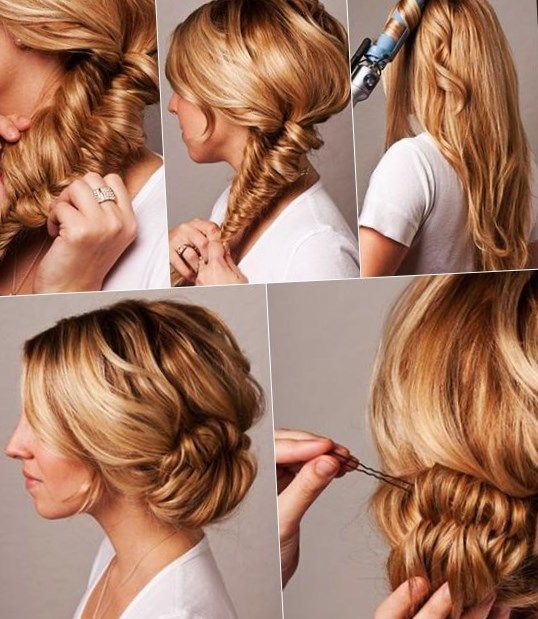 Updated updos plaited on the side. #Hairstyle Trends Hairstyle Trends2019 #Hairstyles #Trendige