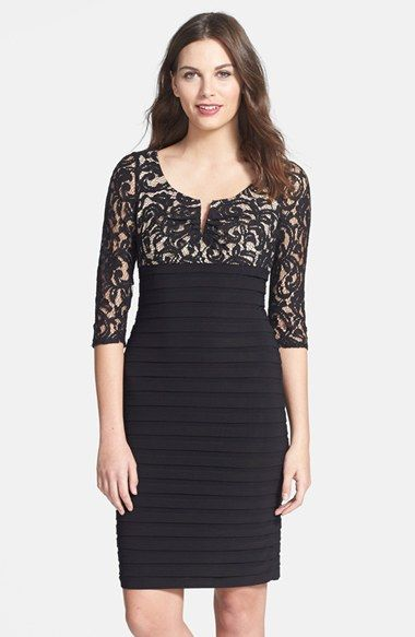 Free shipping and returns on Adrianna Papell Lace & Jersey Sheath Dress (Petite) at Nordstrom.com. A romantic lace overlay against the notched-neck, Empire-waist bodice artfully juxtaposes the banded pencil skirt of a mixed-media sheath dress.