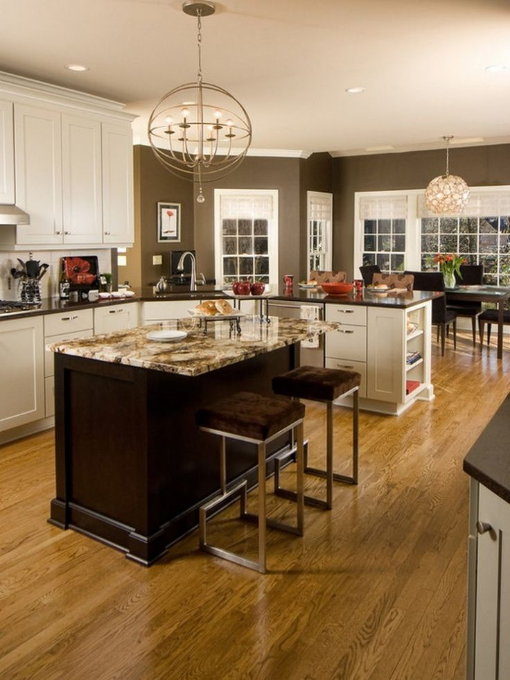Kitchen, White Cabinets For Kitchen With Chocolate Brown ...