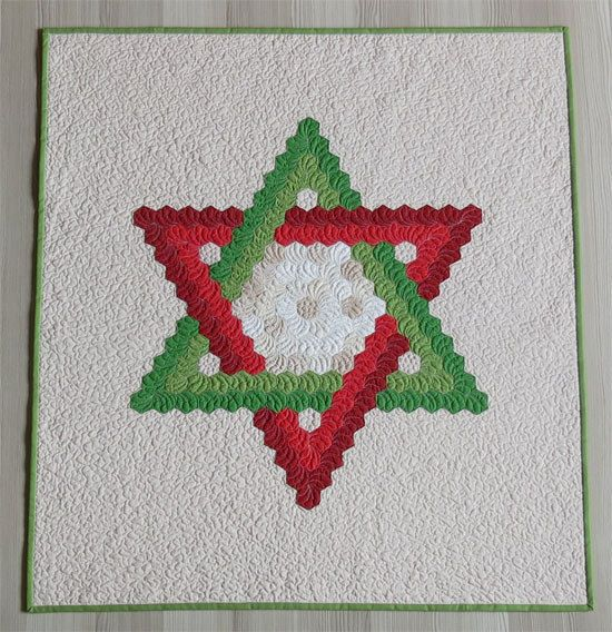 Star of David Wall Hanging Quilt -  Hexagon Wall Quilt-  Christmas Wall Quilt