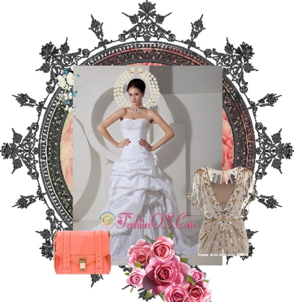"""""""Pretty A-line Wedding Dress Sweetheart Hand Made Flower and Appliques Court Train Taffeta"""" by fancydressesforyou ❤ liked on Polyvore"""