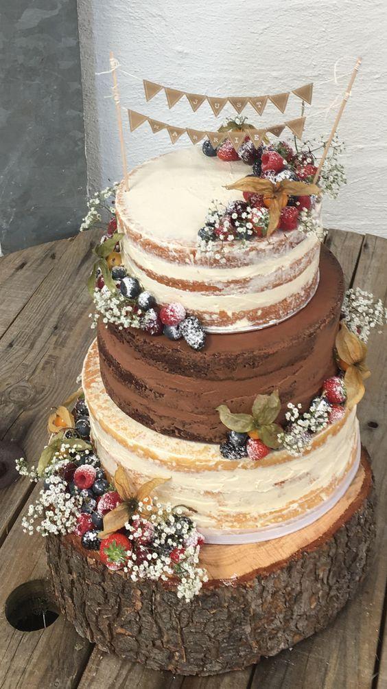 Top 14 Must See Rustikale Hochzeitsideen — Nackte Hochzeitstorte mit Früchten und Blumen …   – Hochzeit