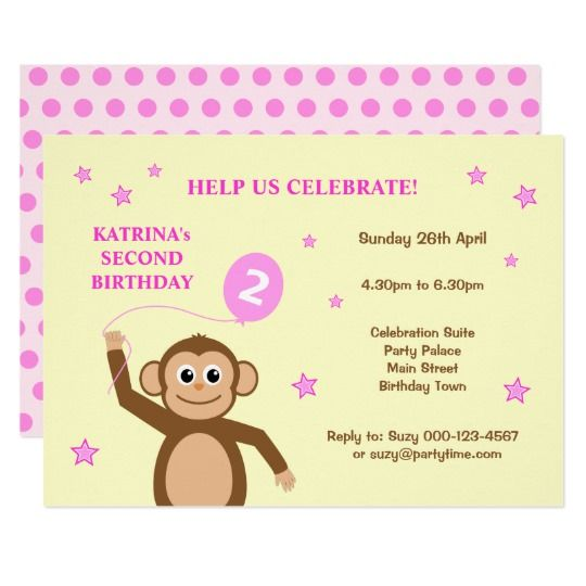 Cute Monkey Second Birthday Kids Party Invitation In Pink And Cream Birthdayparty Partyinvitation Kidsparty 2ndbirthday Toddler