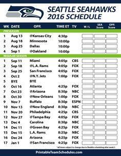 2016-17 Seattle Seahawks Schedule