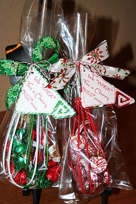 Hostess Gift Ideas: Here's another fun gift idea that involves chocolate.  Fill a Christmas whisk with Hershey's Kisses, wrap it up and tie it with a  pretty ... - Hostess Gift Ideas: Here's Another Fun Gift Idea That Involves