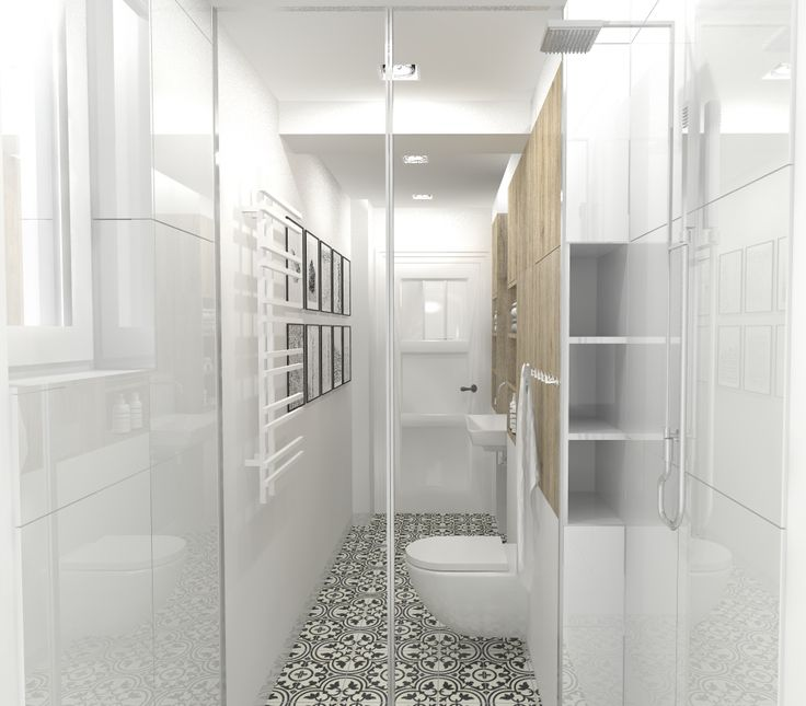 narrow bathroom in white and wood, Gdansk, Poland