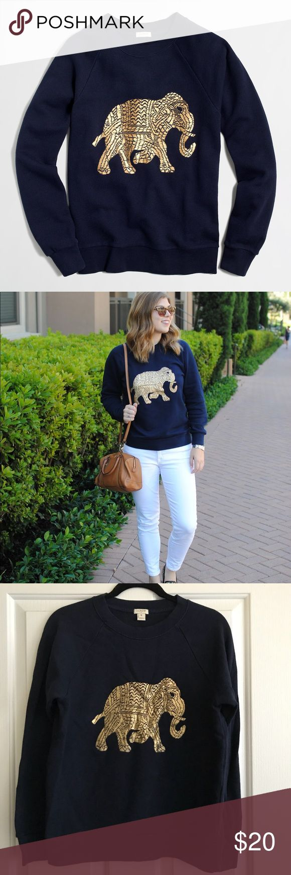 JCREW Elephant Sweater Metallic elephant sweatshirt. Navy color with metallic gold. Size Medium. Worn once. J. Crew Factory Sweaters Crew & Scoop Necks