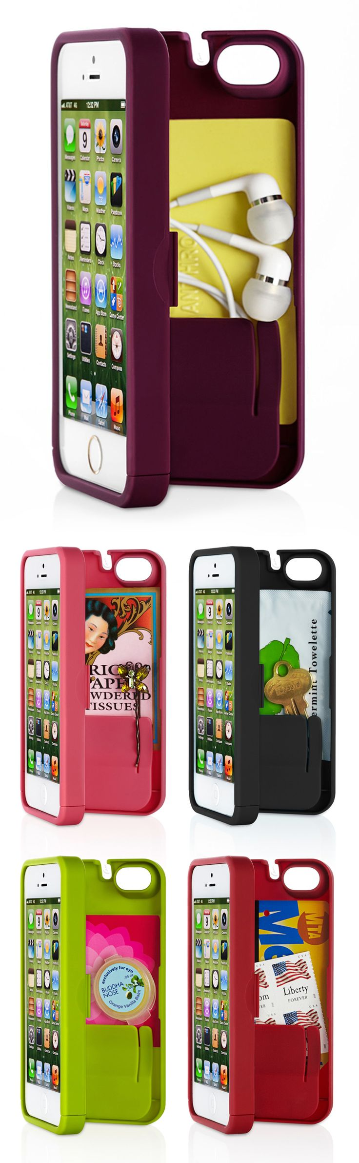 Secret compartment phone case // EYN holds iPhone, money, cards, keys, ear buds, tissues, bobby pins etc. and more! Perfect for a night out, or the gym #product_design Get it here now: http://amzn.to/2wOcks6