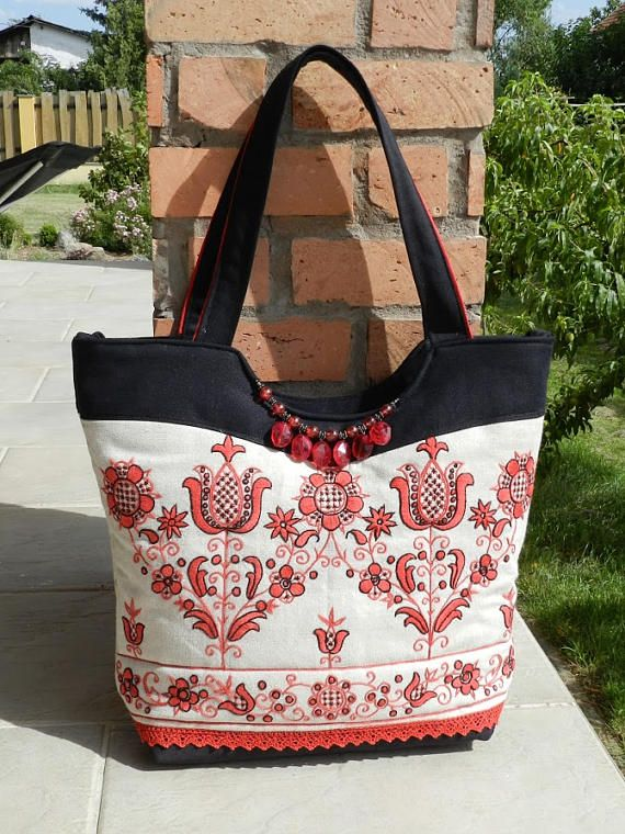 Hungarian embroidery shoulder linen bag with denim Hand
