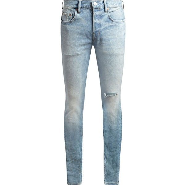 AllSaints Index Cigarette Skinny Jeans ($135) ❤ liked on Polyvore featuring men's fashion, men's clothing, men's jeans, men jeans, mens super skinny jeans, mens slim fit jeans, mens light wash jeans, mens skinny jeans and mens button fly jeans