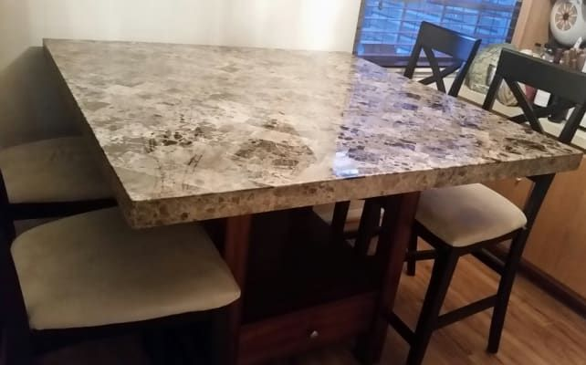 18+ Steve silver montibello marble top counter height storage dining table Various Types