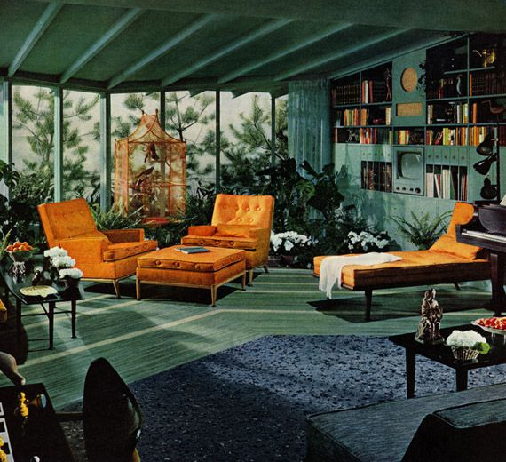 The 1950′s innovative furniture designers worked with modern materials and shapes to create simple pieces. Furniture: materials such as plywood and plastic with simple and elegant shapes. Textile: inspired by the modernist movement and the modern atomic trend. Lucienne Day and Boucle were popular. Accessories: tripod lamps designed by Eames and George Nelson, plates and racks for magazines and A Bakelite telephone - Raybelle Linoleum, Surfray No. 80