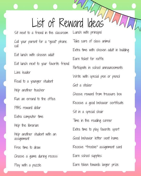 Great list of lots of different ideas for reinforcing positive behavior
