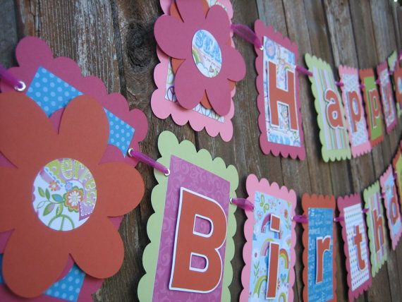 Happy Birthday Banner  Flower Themed by thescrappybug on Etsy, $30.00