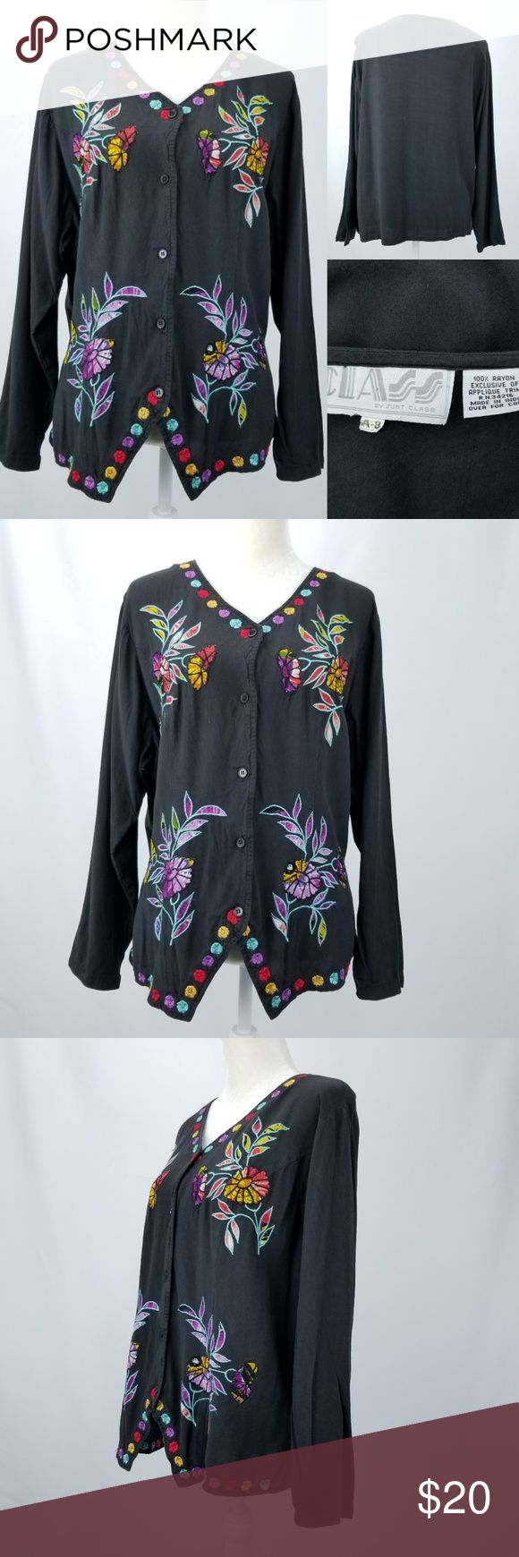 """80s Black Rayon Floral Embroidered & Applique Top This 1980s CLASS by Just Class brand shirt is a women's tag size A-8. See measurements for your best fit.  Black with floral embroidery & appliques all over, v-neck button front, long sleeves Measures & fits like a Large 100% Rayon CONDITION: shows light overall fade from wash wear, & signs of wearing, no holes or stains. shoulder to shoulder: 18"""" chest from armpit to armpit:  21x2=42"""" back of neck to bottom hem:  23"""" sleeve from shoulder…"""