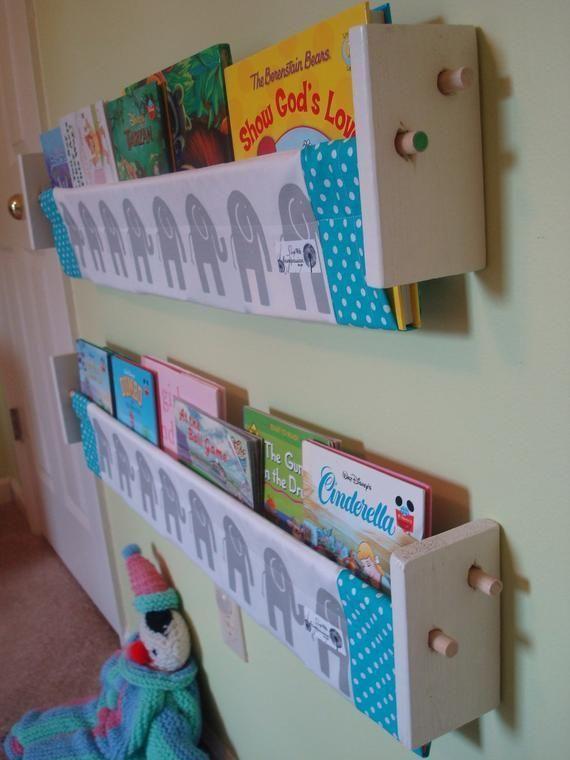 Book Storage Sling – Grey elephant turquoise book storage shelf gender neutral nursery decor