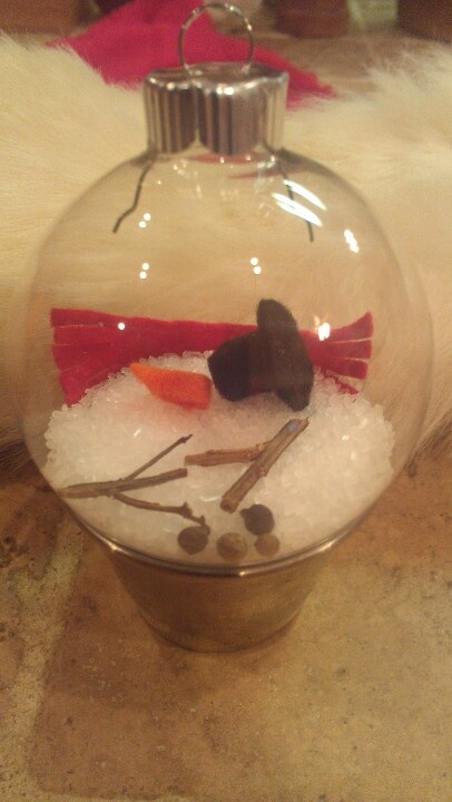 Melted Snowman ornament! Scarf, sticks, hat, nose, and eyes/buttons with fake snow! SOOO cute!