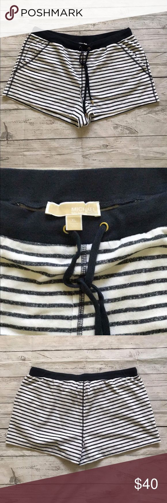 NEW!!! Michael Kors Womens Stripe Shorts Size XL •NEW!!! Michael Kors Womens Stripe Rib Waistband Shorts Size XL A27 •Drawstring cord at waist. •Featured in White/New Navy •Machine wash cold gentle cycle. •50% Cotton/50% Polyester. •Imported. Michael Kors Shorts