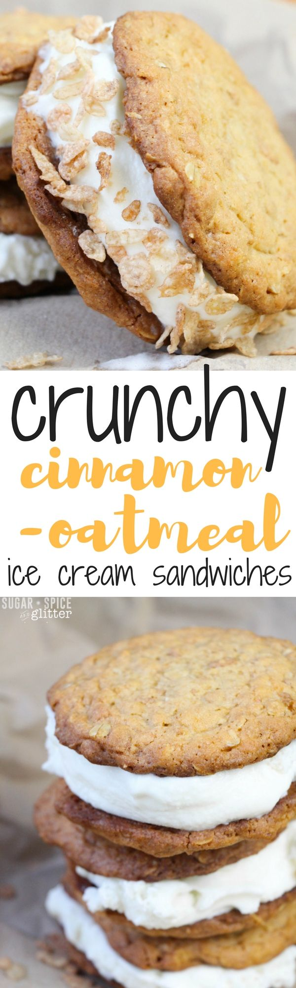 The perfect, crispy oatmeal cinnamon cookies with soft vanilla ice cream filling, these homemade ice cream sandwiches are the perfect summer dessert #